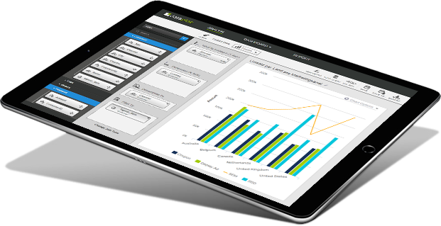 showing datapine's drag & drop interface on a tablet