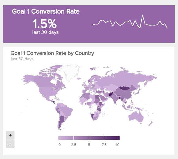 map chart which visualises the goal conversion rates for different countries