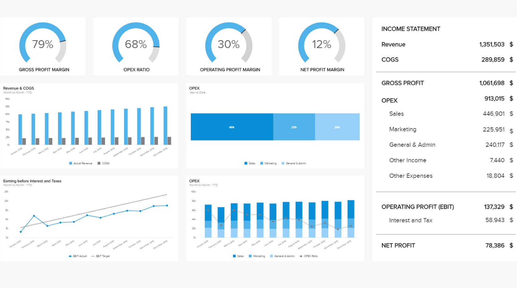insurance analytics dashboard example: Profit and Loss Financial Dashboard