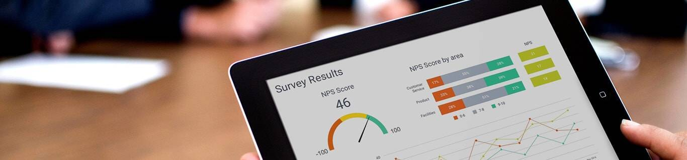 Illustrating market research analytics with survey results on a tablet