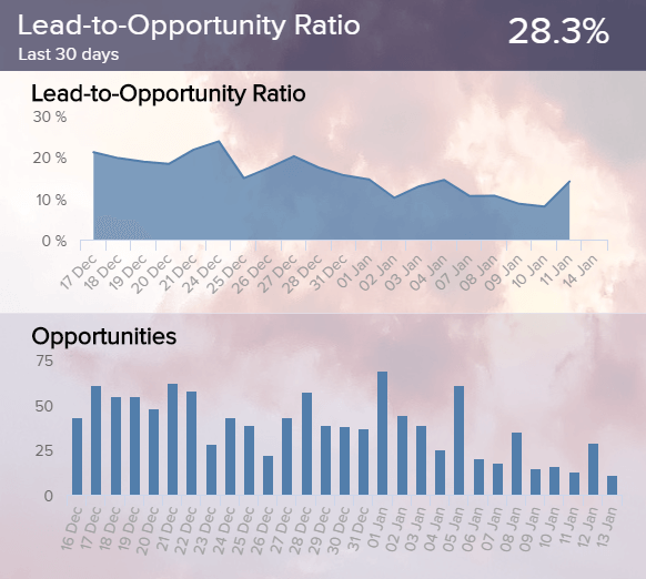 visualisation of the lead quality with the help of the lead-to-opportunity ratio