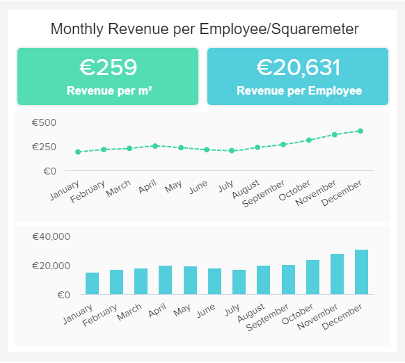 data visualisation showing the monthly revenue per employee and squaremeter